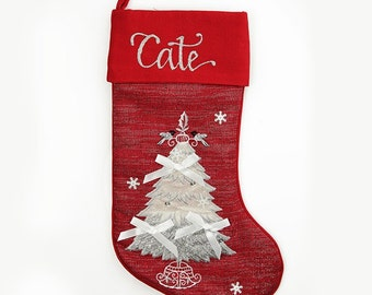 Personalised Red Tree Christmas Stocking