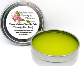 Natural Turmeric Diabetic Nerve Pain Salve - Neuropathy Pain Remedy - 2 Oz