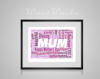 "Personalised Mothers Day ""mum"" Word Art  **Buy 3 prints get the 4th FREE**  Use coupon code "" MYFREEONE """
