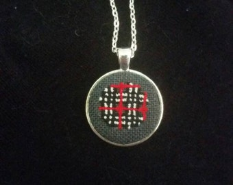 Burberry Inspired Black Red White Plaid  Handmade Cross Stitched Pendant Necklace