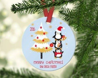 Personalized Round Aluminum Christmas Ornament