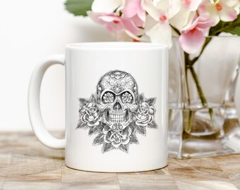 Sugar Skull 11 ounce ceramic coffee mug.