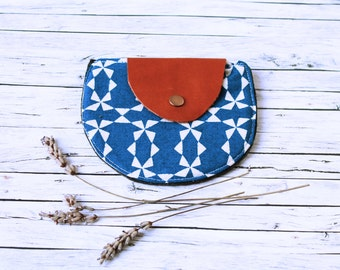 Handmade Coin Purse. Japanese fabric, felt & leather. Blue and yellow fabric. Flowers and geometrical shapes.