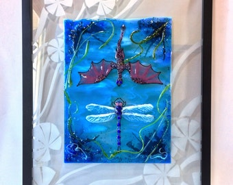 Fused Glass Dragon and Dragonfly Art with Flameworked and Etched Glass Accents