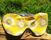 Yellow sleep mask silk sleeping mask, handmade sleep mask soft, flower sleep mask migraine relief satin mask, yellow flower gifts under 20