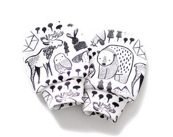 Nordic Animals no scratch baby mittens, organic cotton baby mittens, baby mittens, mittens, no scratch mittens