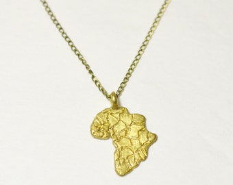 Africa Pendant Necklace - African Continent - Afrocentric - Brass