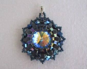 Metalic Blue/Blue Iris Art Deco/Art Nouveau Swarovski Crystal Rivoli Pendant-Sterling Silver Bail-Vintage Pendant- Half Tila Beaded Jewelry