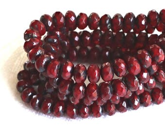 30 small, garnet red picasso puffy rondelle beads, 3mm x 5mm  faceted Czech glass rondelles 51101