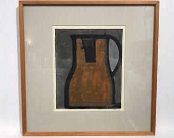 "Don Weygandt , American (1926-) Original Monoprint ""Earth-Orange Pitcher""1982"