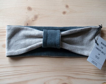 Headband made of 100% hemp Jersey, anthracite and natural
