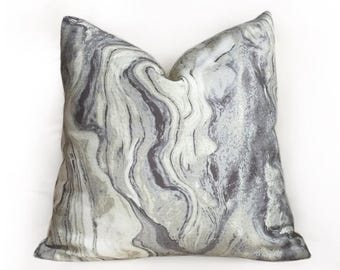 "Modern Abstract Geology Gray Cream Pillow Cover, Fits 12x18 12x24 14x20 16x26 16"" 18"" 20"" 22"" 24"" Cushion Inserts"