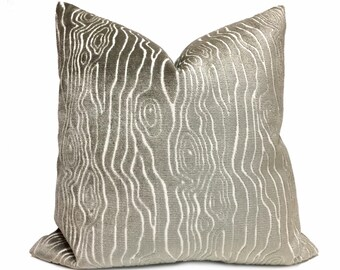 "Tobi Fairley Rivers Mineral Gray Faux Bois Woodgrain Cut Velvet Pillow Cover,  Fits 12x18 12x24 14x20 16x26 16"" 18"" 20"" 22"" 24"" Inserts"