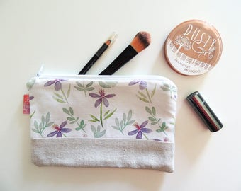Watercolor Purple Floral Zipper Pouch - Travel wallet, Pencil case, Purse organizer, Makeup pouch or Mini Clutch