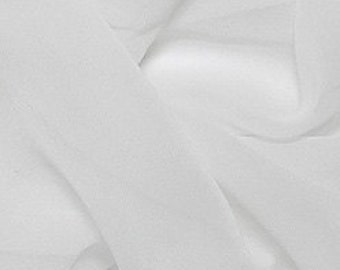 """Silk Chiffon, 8mm, white. 110cm (43"""")wide, sold by the meter (1.09 yards)"""