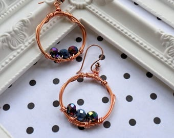 Drop earrings - copper coloured wire and rainbow coated glass crystals