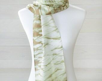 Olive Green Arashi Shibori Silk Scarf