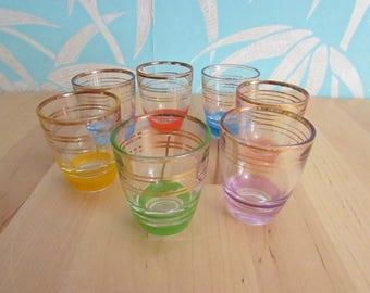Set of 7 1960s gilt & multicoloured stripe shot glasses