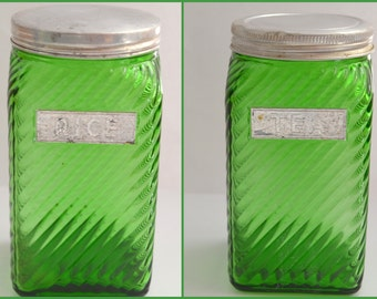 "Antique Owens Illinois CANISTER SET Green Glass Spice Jars Storage Containers Rice Tea Pair 5.5"" Jars Depression Era 1930s Kitchen Decor"