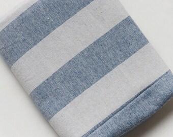 Stripe fabric, Stripe cotton linen fabric, Blue stripe  fabrc, Nautical fabric, Dyed cotton linene fabric  by half yard  - 1/2 yard