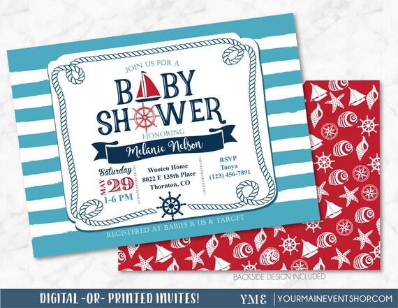 Nautical  Baby Shower Invitation - Sail Boat Beach Boy Baby Shower - Ahoy It's a Boy, Anchor Invite # 023