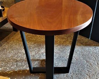 Modern Coctail Round Table. Modern trapezoid legs. Solid Sapele. Stunning furniture for Dinning, Kitchen, Restaurant, Cafe, Bistro, Pub.