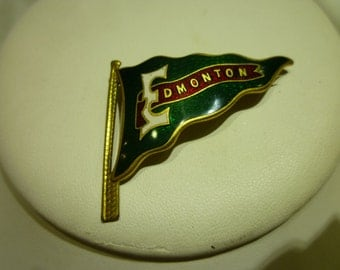 C46 Gold Toned & Enameled Edmonton Flag Pin.