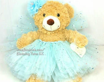 "Flower Girl Bridesmaid 16"" Teddy in a Tutu - Personalised Wedding Gift, Keepsake, Blue Sparkly"