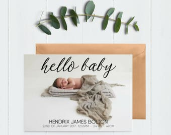 Hello Baby Announcement - Thank You Card - Baby Photo Card - Baby Thank You - Baby Announcement - Newborn Announcement - Welcome Baby