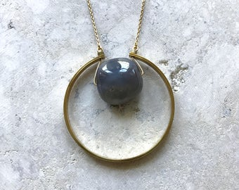 Agate and brass necklace