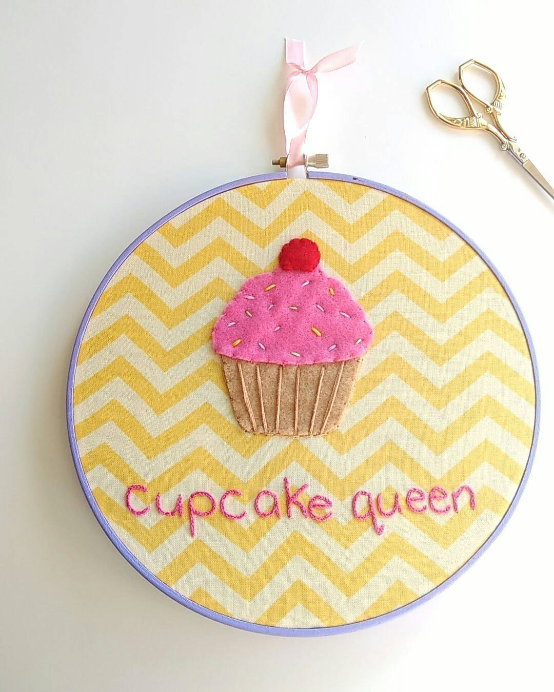 Cupcake queen embroidery hoop art embroidered