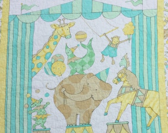 "Baby quilt Animal quilt Quilted Circus baby quilt elephant monkey seal giraffe horse animal quilt  40"" x 45"" baby blanket playmat"