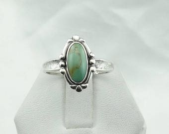 Hallmarked Turquoise Sterling Silver Native American Ring Size 8 3/4  #SMTQ-SR5