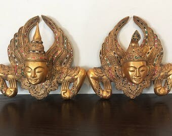 Unique Gold with Mirror Work Angels Wall Hanging from Myanmar