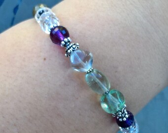 Psychic Enhancement Gemstone and Sterling Silver Bracelet - Intentional Gemstone Jewelry for Stimulation of Mystical Experience
