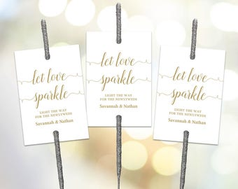 Gold Sparkler Tag Template, Printable Wedding Sparkler Tags, Let Love Sparkle, VW02GOLD