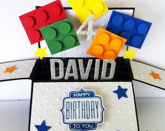 Funny kids Birthday Card, Happy Birthday Card boyfriend, birthday card for him, Building Blocks card   Name & Sentiments personalized