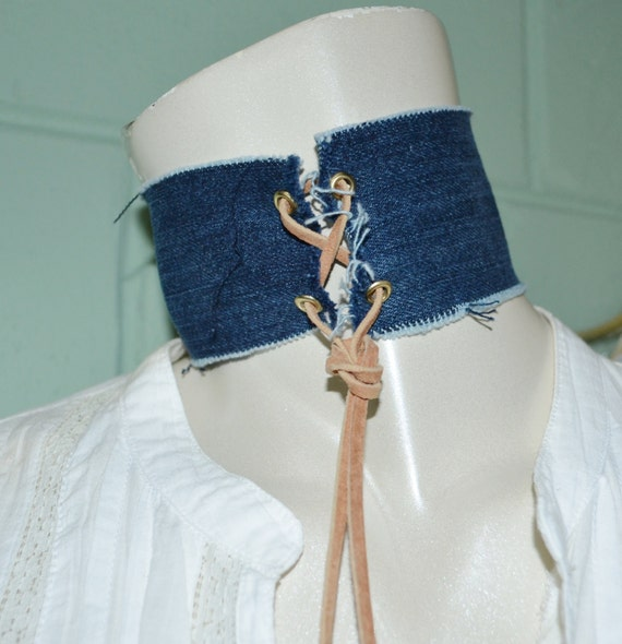 Choker Dark Denim,  Denim Choker with Leather Lace, Jean Choker, Dark Jean Choker, Denim Choker with Leather Tie, Denim Choker w Turquoise