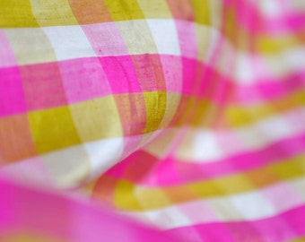 Vintage Hot pink, yellow and white plaid silk shantung fabric