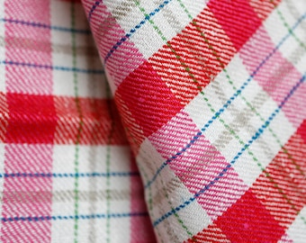 Thick pink and white plaid linen - thick vintage high quality linen light pink hot pink and white