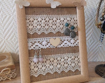 Wedding gift, Earrings holder, earrings organizer, earrings display, Framed earrings holder, lace earring holder, Burlap