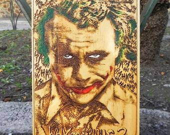 Pop Art Print on Wood, The Joker Poster, Joker Print, Joker Art, Joker Wall Art, Heath Ledger Joker, Heath Ledger Poster, dc comics art