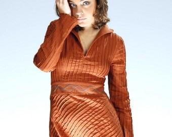 Aiste Fashion Dress / Brown Linen Dress / Long Dress for Women / Linen Dress / Long Sleeve Dress / Dress Tunic /  Dress for Women / Linen