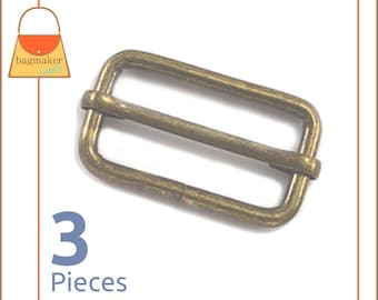 "1.5 Inch Moving Bar Purse Strap Slides, Antique Brass / Bronze Finish, 3 Pieces, 1-1/2"", 1-1/2 Inch, Handbag Purse Hardware, BKS-AA035"