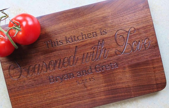 Kitchen Seasoned with Love Personalized Wooden Cutting Board. Wedding Gift-Wooden Cutting Board-Couples Gift- Engraved Cutting Board-Wooden