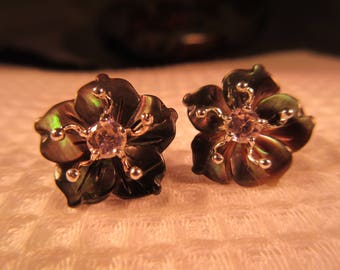 Delicate Sterling Silver Abalone Flower Earrings