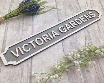 Personalised railway street sign vintage style name plaque - railway station style