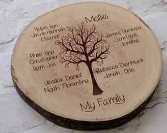 Family tree engraved onto a wood slice