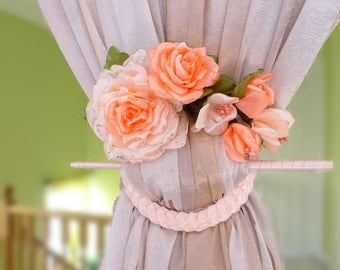 """Pair Of Light peach  curtain tie backs.""""The gentle touch of spring."""""""