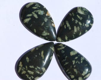 Chinese Writing Stone Cabochon, Teardeop, Dark green and White, Approximately 40 x 23 mm, Porphyry, C1740